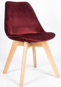 Fully Velvet Covered Beach Wood Legs Chair