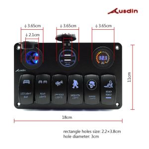 China led light bar switch panel ausdin upgrade led 6 gang rocker led light bar switch panel ausdin upgrade led 6 gang rocker switch panel 2 usb charger ports 0 30v voltmeter display with cigarette socket digital mozeypictures Image collections