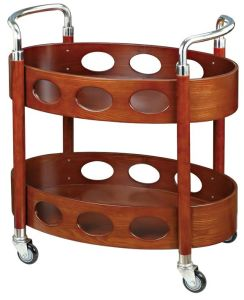 Two-Layer Oval Wooden Liquor Trolley with Stainless Armrests (C-76A) pictures & photos