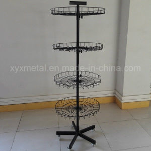Movable Rotating Metal Stand Shelf Display Rack with Castors pictures & photos