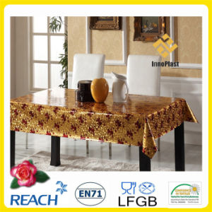 Vinyl PVC Golden and Embossed Table Cover / Table Overlay for Wedding pictures & photos