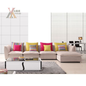 Living Room Fabric Sofa Set With Colorful Cushion 9099c