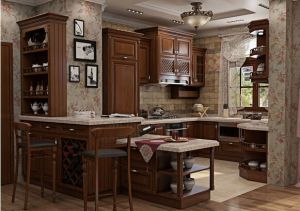 American Style Solid Wood Walnut Kitchen Cabinet (w1) pictures & photos