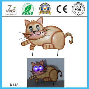 Cat Figurine, Solar Animal Crafts, Iron Cat Garden Decoration pictures & photos
