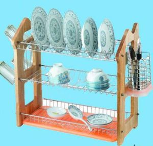 3 Layers Kitchen Metal Wire Dish Drainer Rack Wooden Board pictures & photos