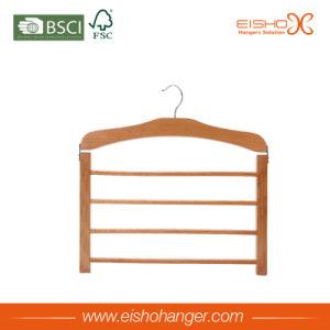 Beech Wood Four Layers Wooden Pants Hanger for Display pictures & photos