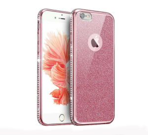 Plating Unilateral Drilling with Glitter Soft TPU Case for iPhone 6 6splus 7 7plus Leather Case (XSDD-086)