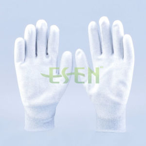 Best-Selling ESD Seamless Knitting Nylon Carbon Fiber PU Coated Dust Free Antistatic Work Gloves