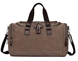 Genuine Leather Cross Body Laptop Messenger Shoulder Bag Washed Canvas Man Handbag pictures & photos