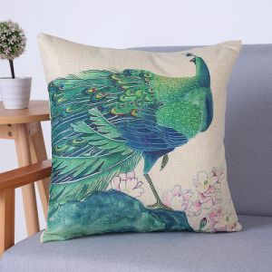 Digital Print Decorative Cushion/Pillow with Peacock Pattern (MX-72) pictures & photos