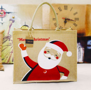 Christams Xmas Handled Style Jute Material Jute Shopping Bags