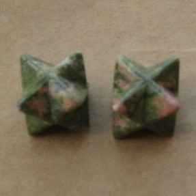 Natural Unakite Crystal Stone Carved Point Sacred Merkaba Stars Healing