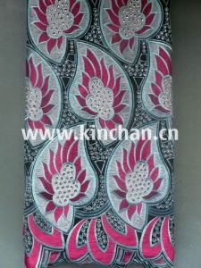 Hot Seling African Handcut Swiss Voile Lace Fabric with Many Stones pictures & photos