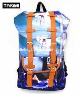 Hot Selling Trendy Canvas and Leather Priniting Laptop Backpack for School, Travel, Leisure