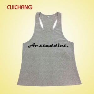Wholesale Cotton Silk Screen Printing/Embordery Custom Design Sports Wear Women Gym Singlet Tank Top