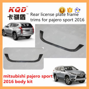 New Black ABS Plastic Car License Plate Frame Pajero Sport License Plate Frame Trims for Mitsubishi Montero Sport 2016 Accessories
