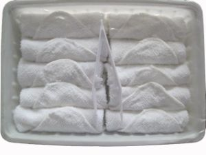 Cotton Rolled Airline Towels Packed in Plastic Tray