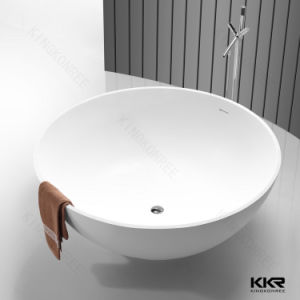 Solid Surface Round Bathroom Artificial Stone Freestanding Bathtub