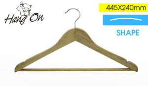 Wooden Clothes Hanger with Special Round Bar