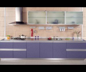 Melamine MDF Boards Kitchen Cabinet Purple Kitchen Furniture