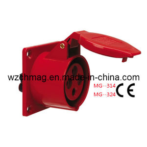 Industrial Panel Straight Socket IP44 32A 4p Red 324