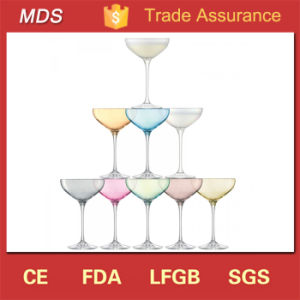 Elegant Glass Short Stem Colorful Champagne Coupe for Wedding pictures & photos