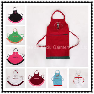 Adult Christmas Frilly Embroidered Waist Apron with Pockets