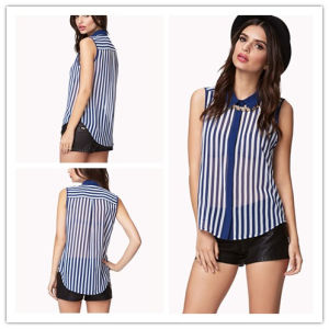 Vertical Striped Chiffon Shirt (HSF8303)