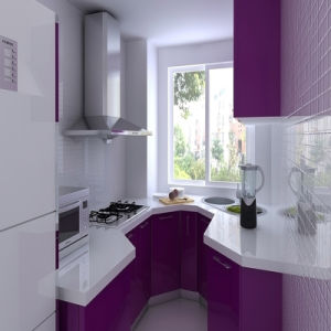 North America Project Purple Modern Varnished Kitchen Cabinet Furniture for Small Kitchen
