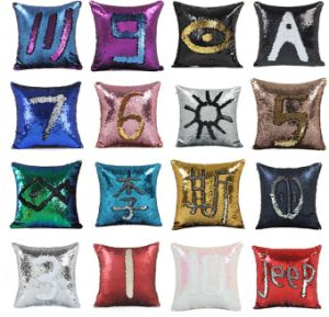 china two color turnover spangle mermaid sequin pillow cushion