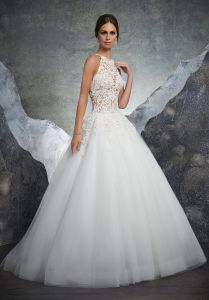 Top Quality Halter Sexy Applique Lace Wedding Gown With Beads