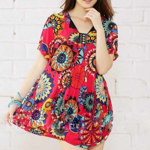 Fashion Printed Sunflower Plussize Ladies Dress (LD-028)