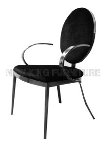 Modern Luxurious with Armrest Chrome Steel Foot PU Leather Dining Chair (NK-DC095)
