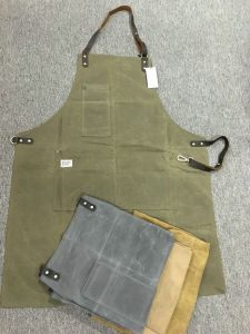 Personalized Utility Waxed Canvas Apron with Genuine Leather Straps for Men Factory