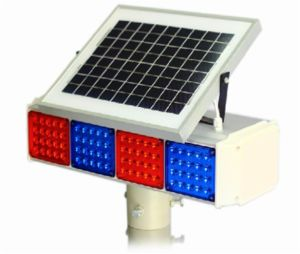 Two- Side Solar Energy LED Traffic Signal Flashlight (TR006)