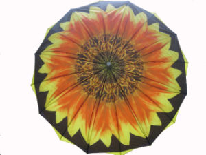 Sunflower Design Heat Transfer Printing Double Layers Straight Umbrella (SU025-6) pictures & photos