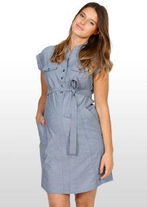 a4e49b07120 China Blue Chambray Maternity Shirt Dress - China Woven