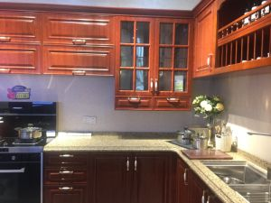 Solid Wood Cabinet Door with Stainless Steel Kitchen Cabinet Furniture
