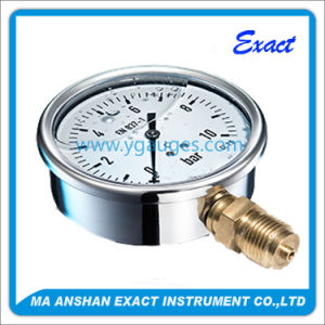 Bottom Entry Liquid Filled Pressure Gauge with Brass Internals