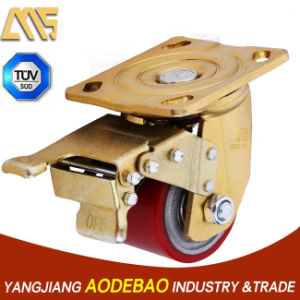 Extra Heavy Duty Low Gravity Double Brake PU Caster Wheel