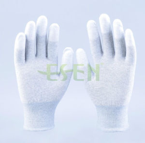 High Quality ESD Fingertip PU Coated Gloves, Palm Fit Gloves with Carbon Fiber