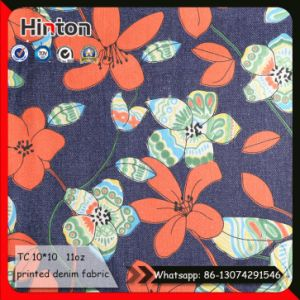 Flower Printing Denim Fabric for Lady′s Handbag pictures & photos