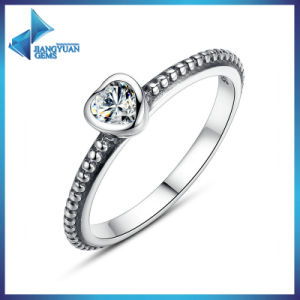 Wholesale Heart Simple Design One Cubic Zirconia Ring pictures & photos