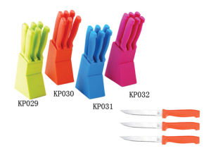 5PCS Colorful Stainless Steel Knife Set with acrylic Base