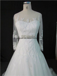 2012 Fit and Flare Wedding Gowns Sequinned Silhouette 3/4 Sleeves pictures & photos