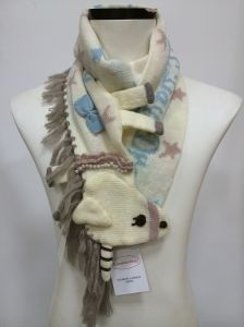 2014 100%Acrylic Knitted Jacquard Scarf for Winter
