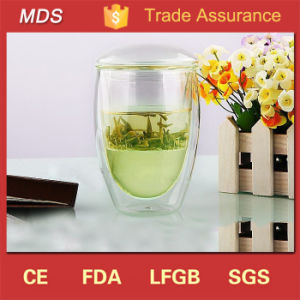 Hot Sale Double Wall Drinking Glass Thermos Cup with Lid pictures & photos