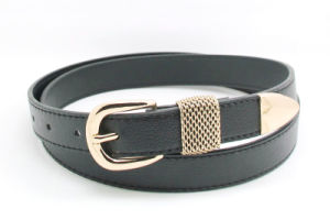 Black Color Classic Skinny PU Belt Ky5999 pictures & photos