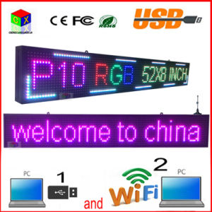 Outdoor 52′′x8′′ Inch 1/4 Scan RGB P10 Full Color LED Sign Support USB Computer WiFi Edit for Advertising Media LED Display