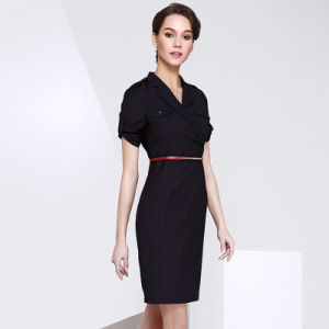 Short Sleeve Women Dress Slim Elegant Formal Office Lady Dress pictures & photos